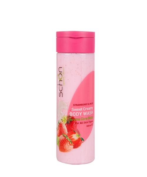 شامپو بدن کرمی شیر توت فرنگی شون مناسب انواع پوست 300 میلی لیتر