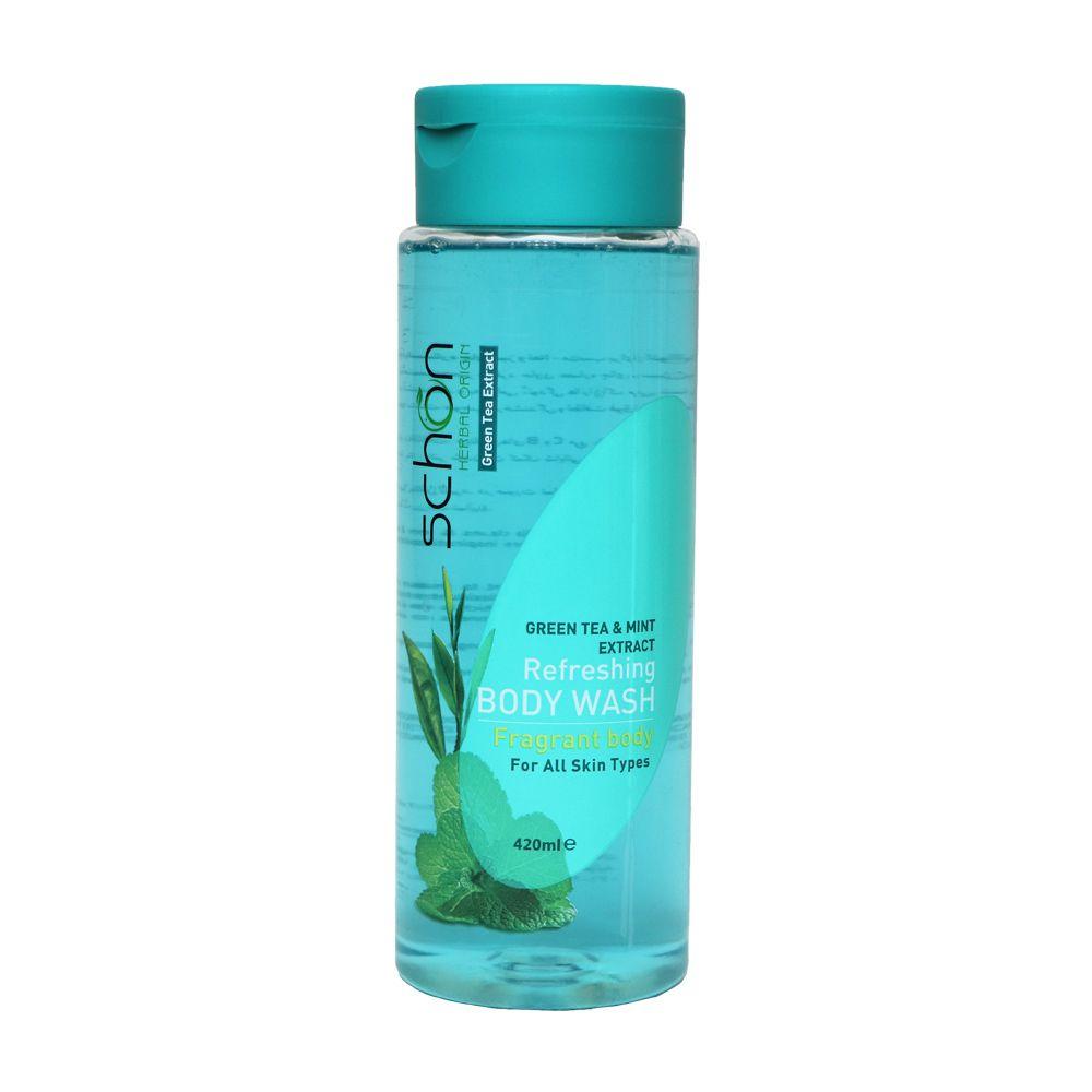 شامپو بدن چای سبز و نعنا شون مناسب انواع پوست 420 میلی لیتر