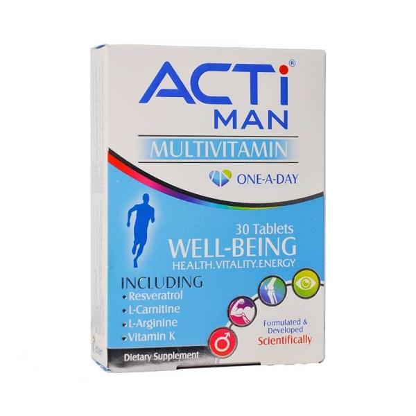 قرص اکتی من مولتی ویتامین کامل مخصوص آقایان ابیان دارو 30 عددی