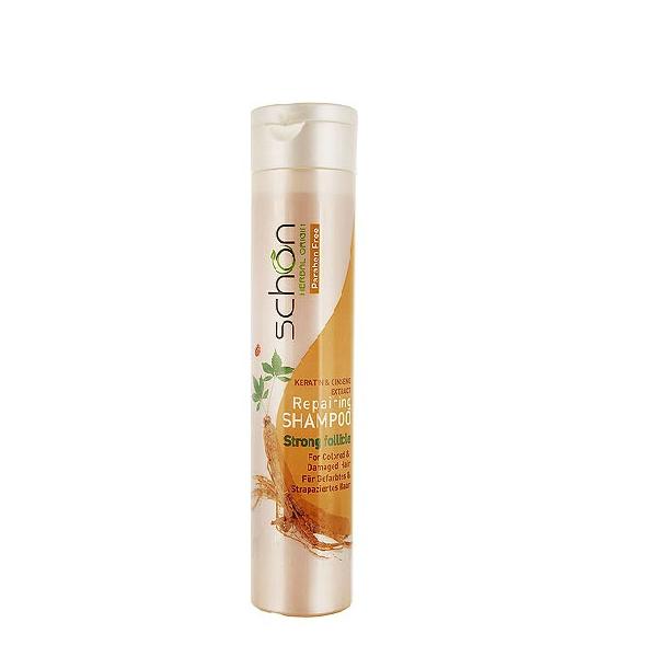 شامپو ریپرینگ ( ترمیم کننده ) شون حاوی عصاره جینسینگ و کراتین مناسب موهای آسیب دیده و رنگ شده ۴۰۰ میلی لیتر