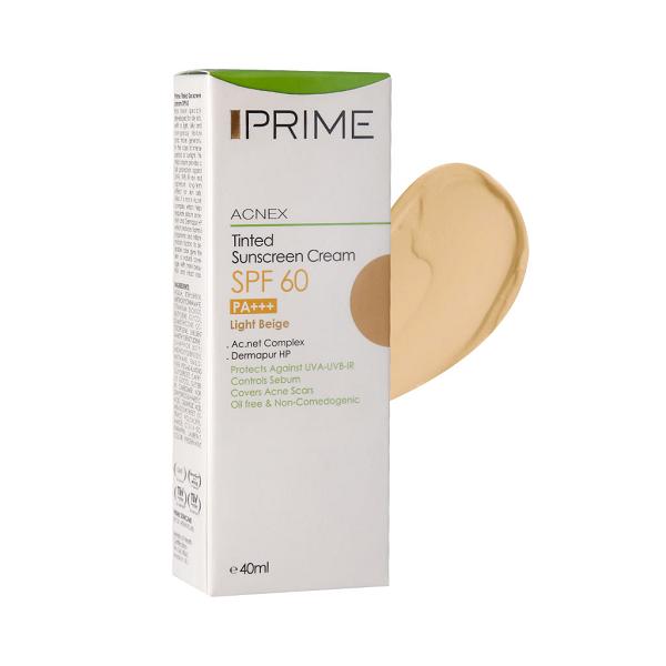 کرم ضد آفتاب رنگی فاقد چربی SPF60 پریم مناسب پوست چرب و آکنه ای  40 میلی لیتر